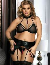 SEXY HOT WOMENS FLIRTY BLACK FAUX LEATHER BRA/GARTER SET LINGERIE 3XL,5XL UK