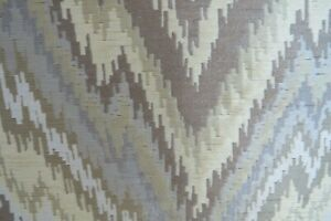 Vintage MCM Retro Upholstery Fabric Flame Stitch in Yellow Taupe & Gray  6.6 yds
