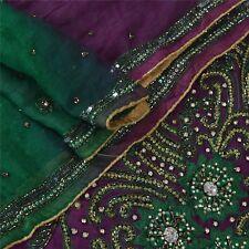 Sanskriti Vintage Dupatta Long Stole Chiffon Silk Purple Hand Beaded Wrap Veil