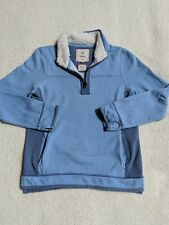 Fat Face Iconic Airlie Denim Chambray Two Tone 1/4 Zip Sweatshirt US 6 Small