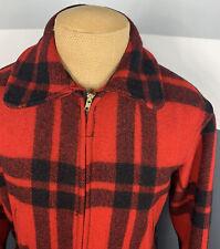 Vintage Sportclad 50s 60s Full Zip Mackinaw Wool Buffalo Plaid Jacket Red Black
