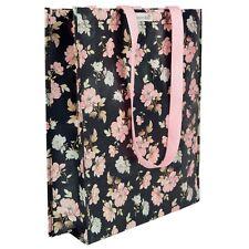 Eco De Compras Bolso Negro Rosa Rosa Vintage Floral Shabby Chic Playa de hombro