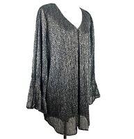 *READ* Size 1X Alfani Metallic Silver/Black Tunic Top Blouse Shirt Women's Plus