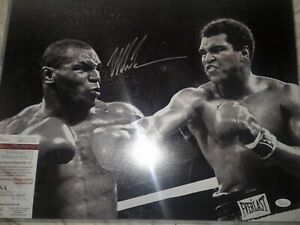 Mike Tyson Signed Auto 16x20 w/ Muhammad Ali JSA Authenticated