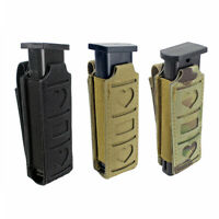 Molle Single Magazine Pouch Elastic Pistol Mag Holster Flashlight Tool Holder