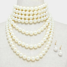 Big Pearl Choker Necklace Long Chunky Multi Layered Pearls Bib Collar CREAM GOLD