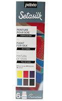 Pebeo Setasilk 6x 20ml Initiation Set Seta Tessuto Pittura Craft Arte 756485