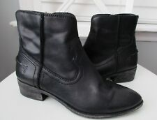 Frye Ray Seam Short Ankle Boots Western Black Leather Women's Size 7.5 M-3475883