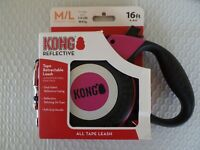 KONG REFLECTIVE TAPE RETRACTABLE DOG LEASH. MEDIUM/LARGE 16' TO 110 LBS NEW