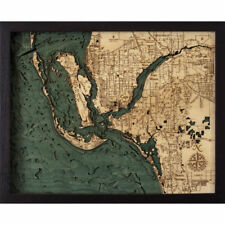 Ft Myers  3D Nautical Topographic Chart Framed Wall Art Laser Cut