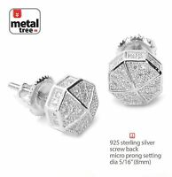 Men's Hip Hop Rh Plated Iced Out Mini Octagon Screw Back Stud Earrings 465 S