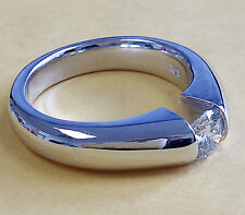 Special 14k White Gold Round Moissanite Engagement Ring Tension Set Bridal 0.90c