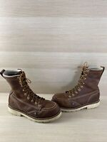 "Thorogood American Heritage 8"" Brown Leather Steel Toe Work Boots Men's Size 8 D"