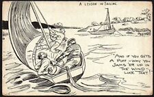 Postcard - Comic Saucy - A Lesson In Sailing.