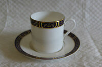 Royal Worcester Mountbatten Cobalt Blue Gilded Demitasse Coffee Can Cup & Saucer