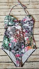 New French Connection Mineral Print Bandeau Swimsuit sz Large SE18