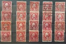 More details for usa 1922 - collection of 20 washington  2c red  used stamps