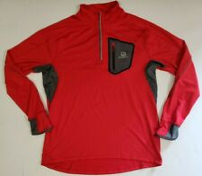 Salomon Acti-Therm 1/4Zip Track Jacket Mens Sz XL  Running Gym LS Top Red  Gym
