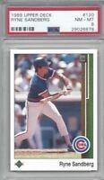 1989 Upper Deck baseball card #120 Ryne Sandberg, Chicago Cubs graded PSA 8