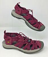 Keen Women's Burgundy Waterproof Sport Sandals Bungee Cord Bumper Toe Size 8 M