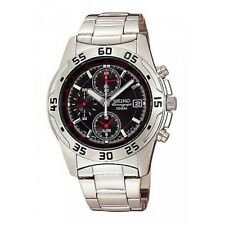 SEIKO CHRONOGRAPH ALARM DATE BLACK DIAL STAINLESS STEEL MEN'S WATCH SNA273 NEW