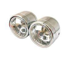 Twin Round Dominator Headlight Chrome Bottom Mount Halogen-Bulb H4 12V 60/55W