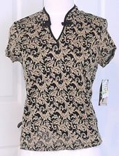 Brittany Black & Gold Top Nehru Collar Stretchy Medium Blouse