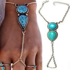 Boho Turquoise Bracelet Bangle Slave Charm Chain Link Finger Ring Hand Harness