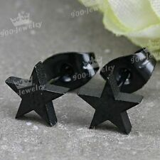 2x Stainless Steel Black Plated Star Earrings Stud Plug Punk Style Ear Jewelry