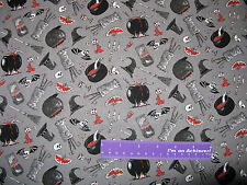 ODDITIES Goth Halloween Cauldron Skull Hat Gray Cotton Fabric BY THE HALF YARD