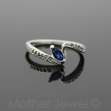 SAPPHIRE BLUE CZ MARQUISE CUT ENGAGEMENT STERLING SILVER SP RING SIZE 8 P