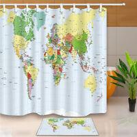 World Map Pattern Waterproof Fabric Shower Curtain Liner Bathroom Mat Hooks Set