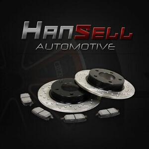 [Rear Cross Drilled Brake Rotors Semi Metallic Pads] Fit 05-13 Mazda 3 w/ 2.0L
