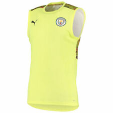 Man City Sleeveless Shirt Puma Football Training Top T-Shirt - Yellow - New