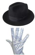Men Ladies Michael Jackson Silver Sequin Glove  + Jazz Ribbon Bowknot Panama Hat
