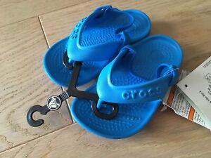 TOP!! NEU! Tolle Original CROCS Badeschuhe Flip Flop Gr 22 23 C6 ocean blue blau