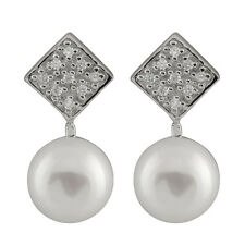 Fancy sterling silver rhodium plated earrings 9-10mm freshwater pearls ESR-187