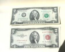 3=2+1: Two $2 Bills(1976 Bicentenial 200 yeas &1953 Red Seal)+1 Old Cent US Coin