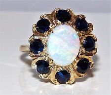 A FINE 9CT YELLOW GOLD CABOCHON OPAL SAPPHIRE KATE STYLE CLUSTER  RING K 1/2