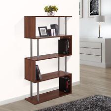 "4-Tires 57"" Wooden Bookcase S Shape Storage Display Unit Home Décor Walnut"