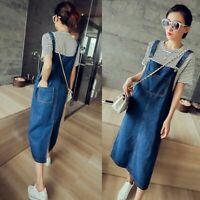 Women Summer Casual Denim Jean Dress Pinafore Bib Overall A Line Suspender Skirt