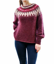 Free People Women's Baltic Fair Isle Pullover Sweater Burgundy Size XS BCF62
