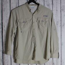 Columbia Long Sleeve Mens Button Down Vented PFG Shirt XL Beige Fishing Hiking