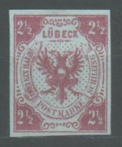 Lübeck, 1859 Stadtwappen, 2 1/2 Schilling, MiNr. 4 ohne Gummi