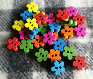 30 small mixed flower wooden sewing kids craft knitting buttons 11mm 2 hole