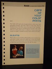 """Kodak """"Care Of Your Color Prints"""" Pamphlet 1971 Photo Camera guide manual book"""