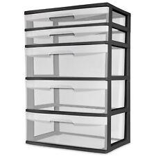 NEW Wide Tower Storage Sterilite Organizer Cabinet Heavy Clear Plastic 5 Drawer