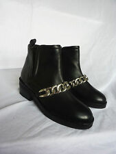 WORN ONCE KURT GEIGER BLACK LEATHER CHAIN DETAIL ANKLE CHELSEA BOOTS 38 SIZE 5
