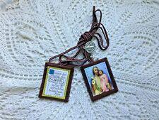 """ST. JOSEPH & INFANT JESUS"" SCAPULAR"" Embr. Cloth/Felt Crucifix ""BLESSED""  NEW"