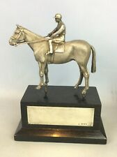 More details for hallmarked solid silver jockey on horse on base edward barnard and sons ltd 1980